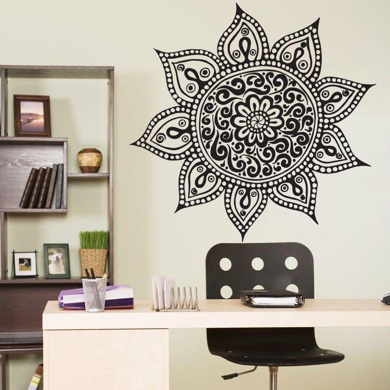 Free shiping / Yoga Mandala Om Indian Buddha Symbol Mehndi Wall Decal Home Decor Wall Sticker