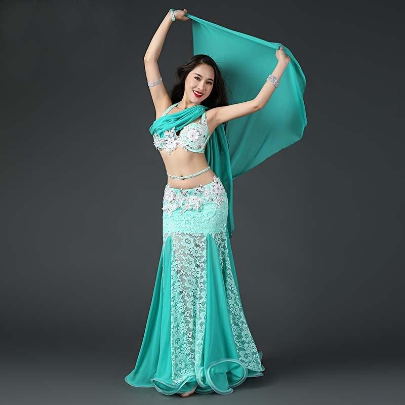 2019 Professional Belly Dancing Costumes Set Performance Diamond 2PCS Bra Skirt