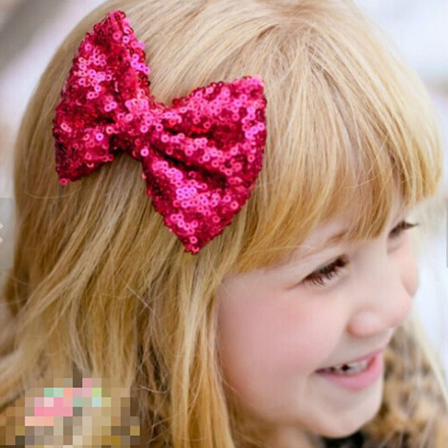 10 colors 4 Inch Sequin Hair Bows With Clip Girls Boutique Hair Bow Handmade Sequin Hair Clip For Children CNHBW-1504182