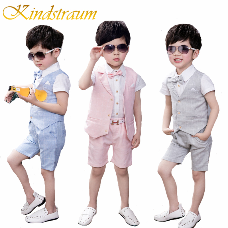 Kindstraum New Boys Plaid Formal Suits Summer 4pcs Kids Plaid Vest+Shirt+Pant+Tie Children Wedding Party Clothing Sets, MC715 kindstraum school trend boys formal clothing suits shirt vest pants tie 4 pcs set children sets party