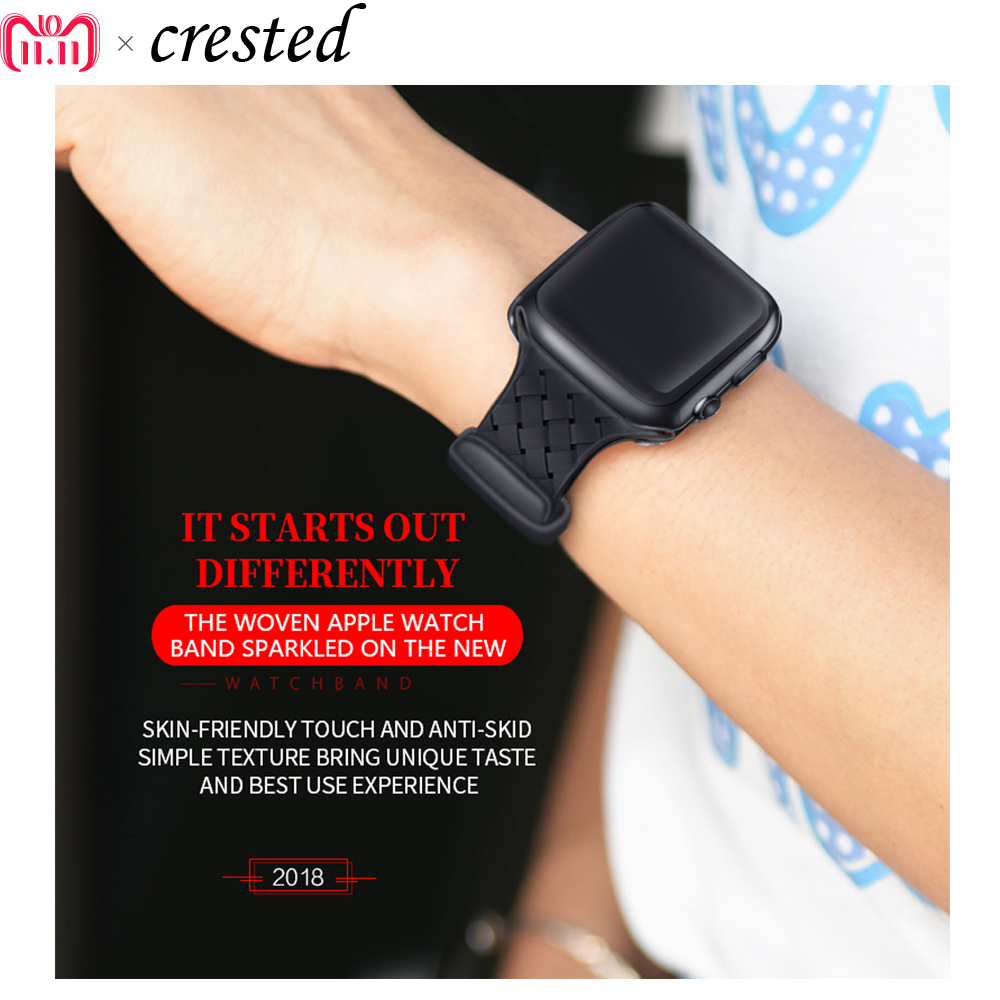 silicone Weaving bracelet for apple watch 3/2/1 strap/band 42mm/38mm iwatch watch wrist belt watch accessories rubber watchband crested sport band for apple watch 42mm 38mm bracelet strap iwatch nike 3 2 1 breathabe wrist watchband rubber watch band strap