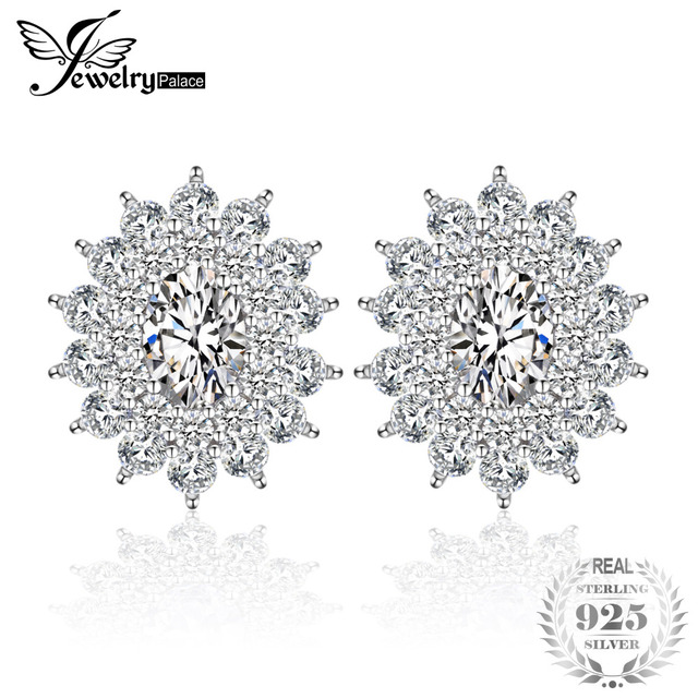 JewelryPalace Luxury 4ct Oval Cubic Zirconia Stud Earrings For Women 925 Sterlin