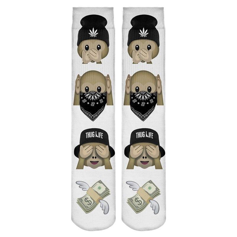 Athletic Sports Monkey Happy Birthday Crazy Socks Monkey Happy Birthday 3D Crew Socks For Running