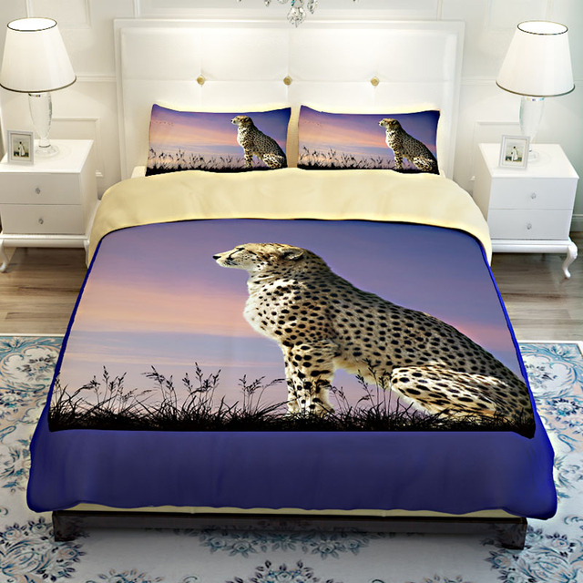 3d Animal Cheetah Print Bedding Sets Twin Queen King Size Stitching