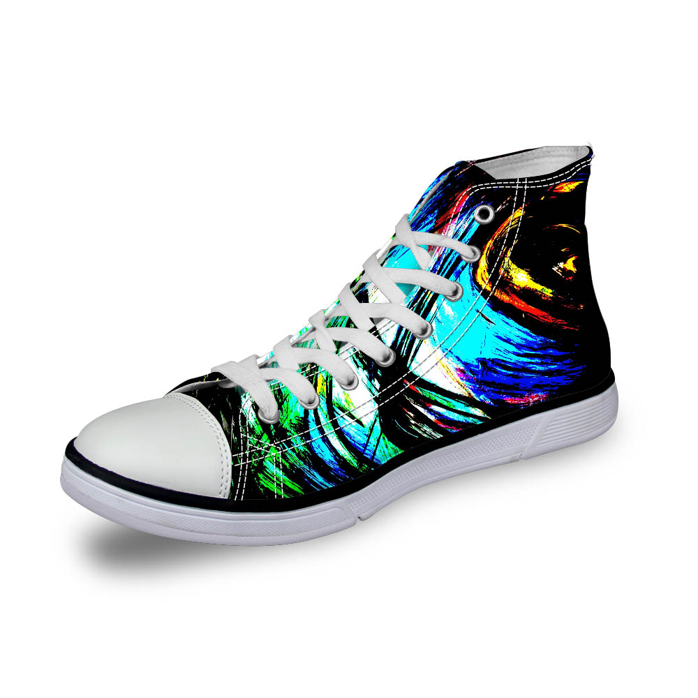 Noisydesings men colorful hand painted print shoes men high top canvas shoes boys sneaker causal vulcanity light rubber