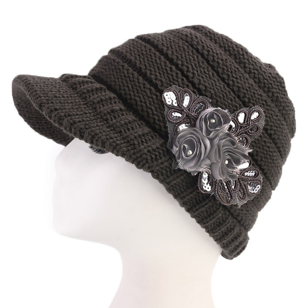 LEAYH 1 Piece Winter Solid Color Wool Knitted Caps Warm Crochet Ski Brim Cap Flower Bonnet Hats For Women Visors in Women 39 s Visors from Apparel Accessories