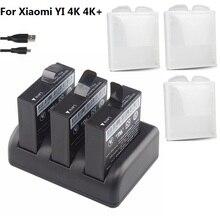 3 slots Dual Charger Batterij Voor Originele Xiaomi YI 2 4 k 4 K + Lite AZ16 1 Actie Camera 1400 mAh Oplaadbare Batterij Batterij case