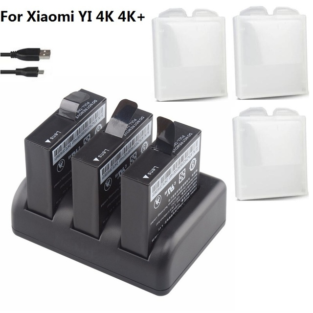 3 slots Kép Sạc Pin Cho Original Xiaomi YI 2 4 k 4 K + Lite AZ16 1 Action Máy Ảnh 1400 mAh Pin Có Thể Sạc Lại Pin trường hợp