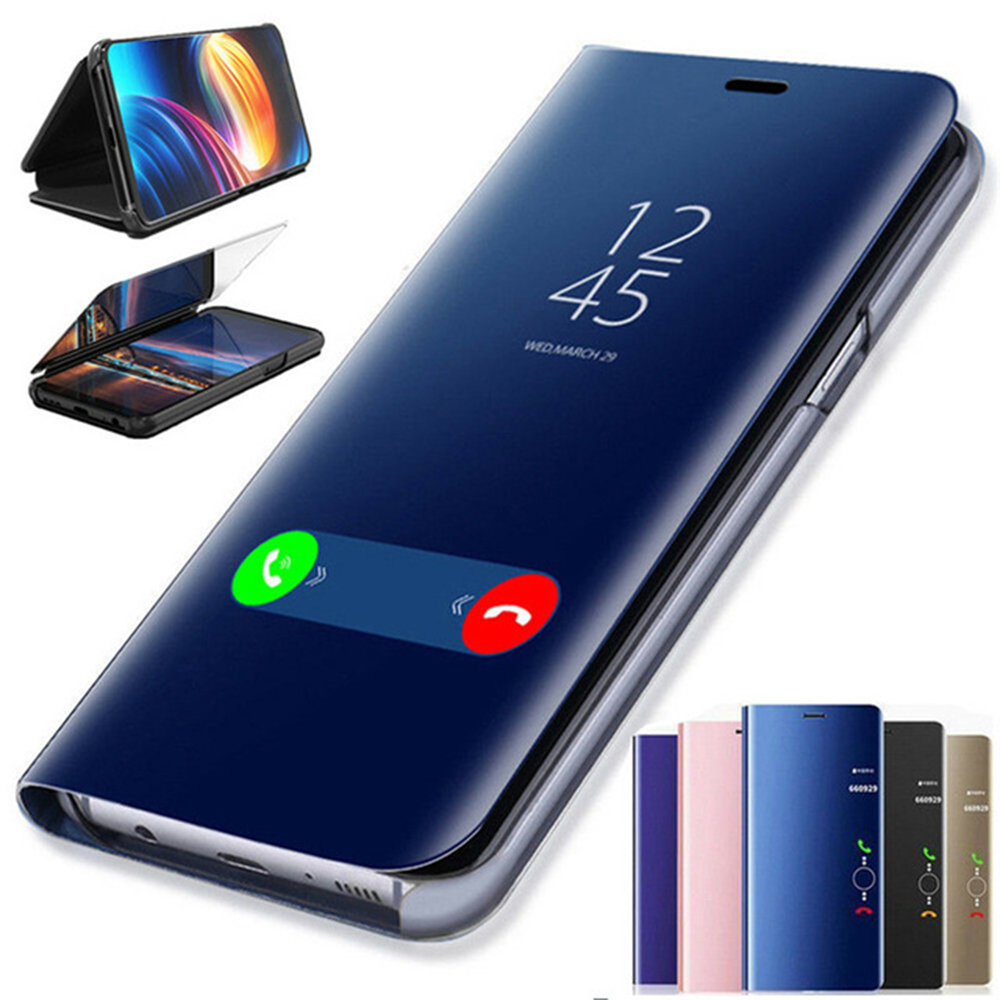 Plating-Mirror-Case Flip-Stand-Cover Huawei Mate Note9 Smart-View Samsung S10 For IPhone