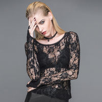Sexy Black Lace Gothic Women Tops T shirt TT045