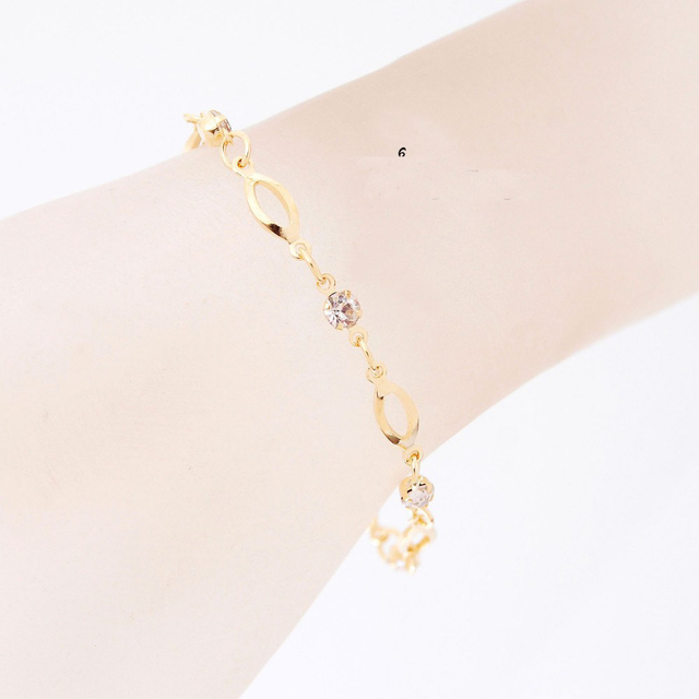 2018 Fashion Crystal Charm Bracelets for Women Gold Color Link Chain Cuff Bracelet Bangles Jewelry pulseras valentines day gift 4