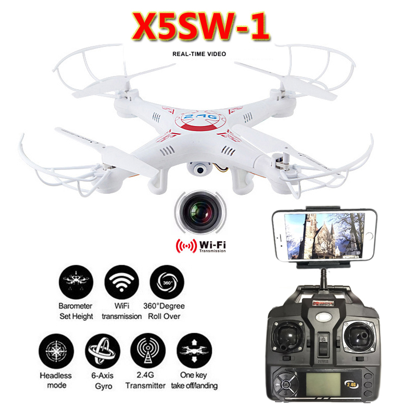 X5SW-1 Dron Quadrocopter FPV Drones With Camera HD WIFI Quadcopter 2.4G 6 axis Real Time Video RC Helicopter Control Remote Toys brand new rc drone dron hd camera 2 4g 6 axis gyro rc quadcopter wifi fpv real time video transmission rc drones feilun fx122c6
