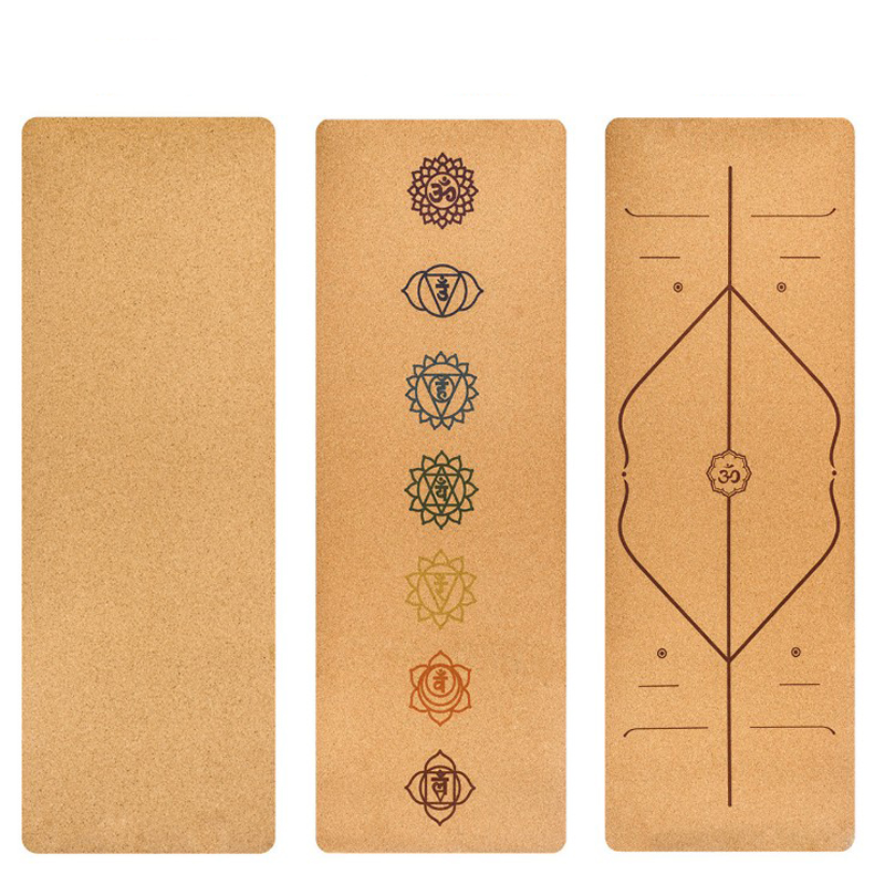183X68cm Natural Cork TPE Yoga Mat Fitness Gym Sports Mats 5mm Pilates Exercise Pads Non-slip Yoga Mats With Position Body Line