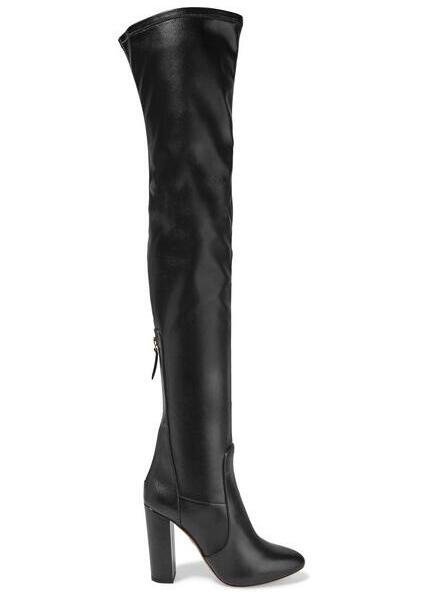 2017 spring newest black stretch fabric over the knee boots round toe thigh high boots woman thick heels velvet boots
