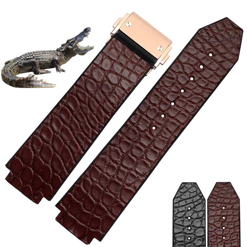 ФОТО 25*18mm High Quality straps Genuine Leather crocodile leather WatchBand with folding  Deployment Buckle free shipping