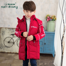 Winter long children in children's wear cotton-padded clothes boy with thick coat cotton-padded jacket
