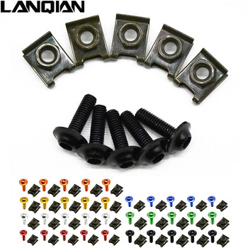 5pieces 6mm motorbike body  fairing screws For yamaha fz6 fazer r1 mt-09 mt-07 mt-03 mt09 mt07 mt03 bajaj pulsar 200 ns  16 15