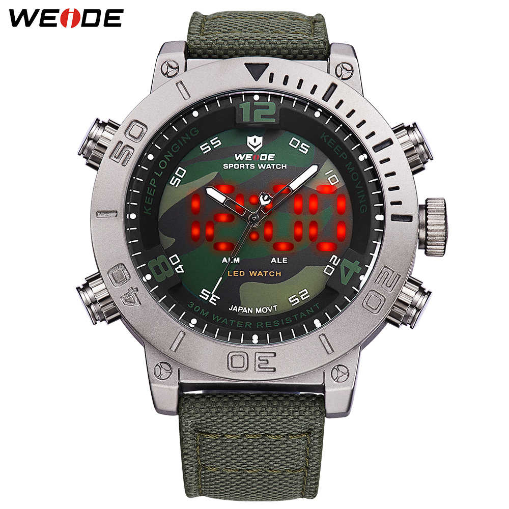 WEIDE Mens Casual Quartz Military Clock Digital Analog Display Nylon Strap Camouflage Wristwatch Relogio Masculino reloj hombre