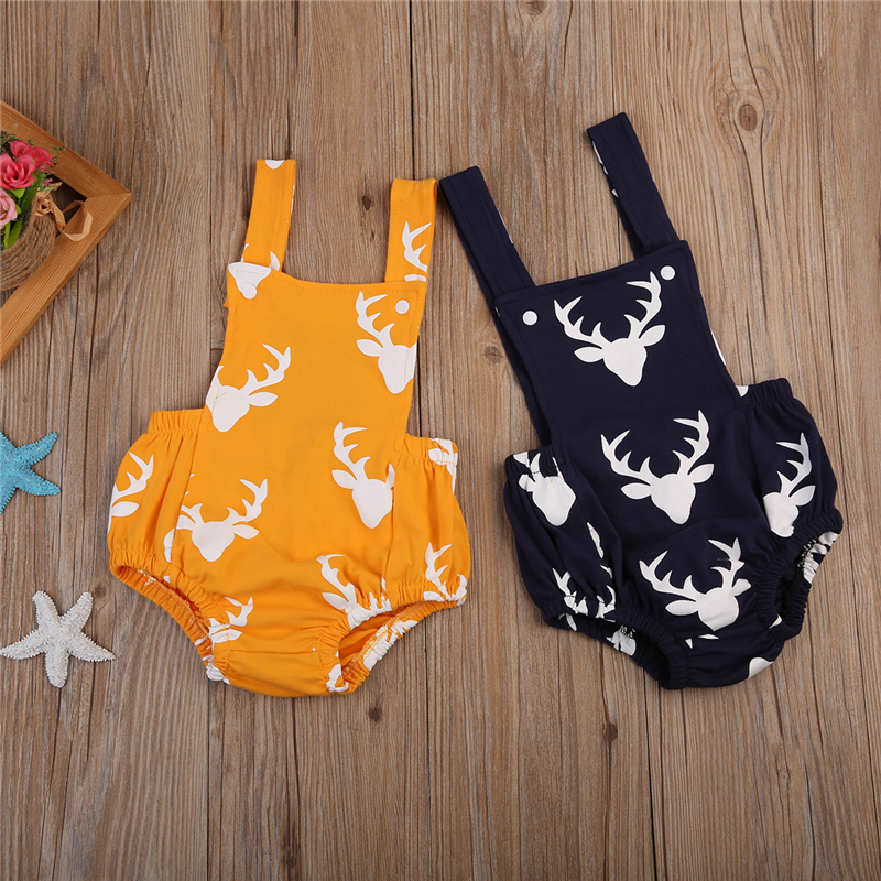 Newborn Baby Boy Girl Deer   Romper   Baby Summer Sleeveless   Rompers   2017 New Arrival Fashion Hot Sale Jumpsuit Bebes Clothes Outfit