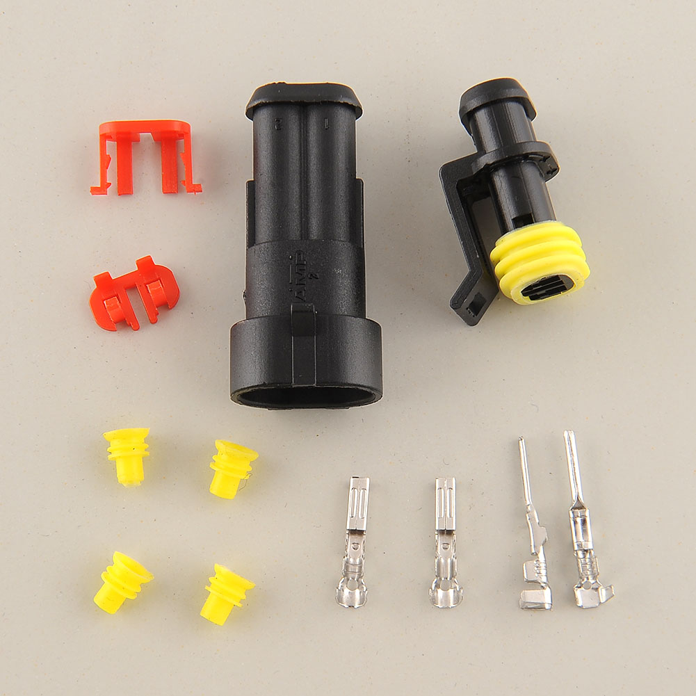 10 Kits 2 Pin Way Sealed Waterproof Electrical Wire Connector Plug Auto Set For Car moto ...