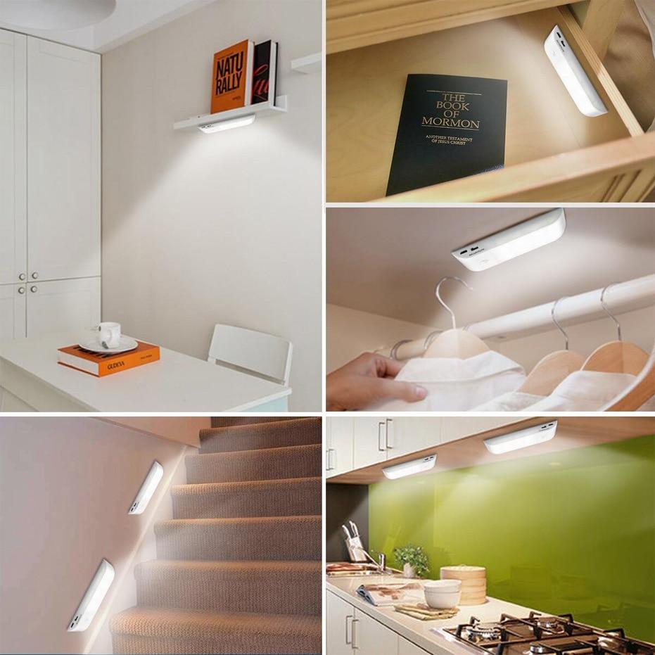 Under Cabinet Lights Kitchen Lighting IR Motion Sensor 12LEDS smd5730 Night Lights USB Chargeable Stair Light Closet Lamp 5