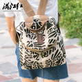 Squirrel fashion Petroglyph linen unisex classic casual backpacks crossbody youth men's travel bag commuter vogue rucksacks