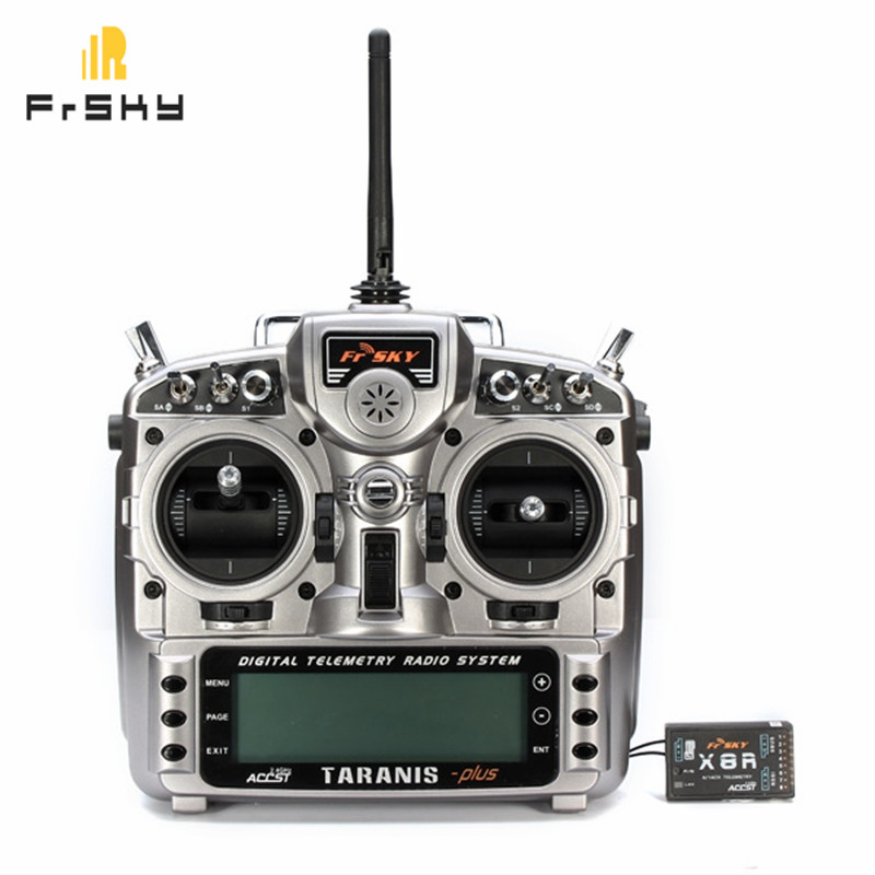 FrSky Taranis X9D Plus 2.4G ACCST Transmitter With X8R Receiver For RC Multicopter Part free shipping frsky 2 4ghz accst taranis x9d plus digital telemetry transmitter radio system set receiver x8r neck strap adapter