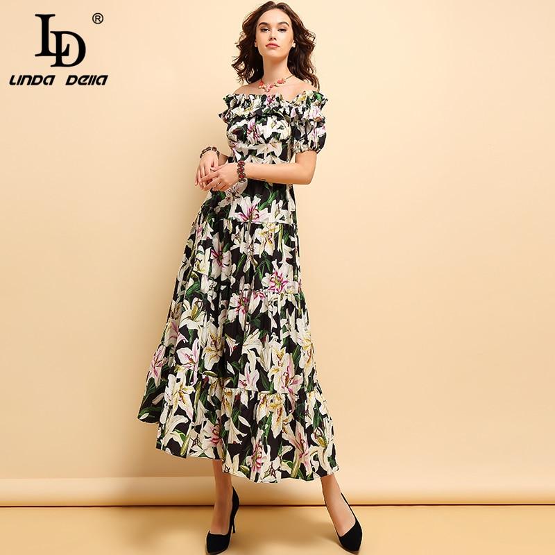 LD LINDA DELLA แฟชั่นฤดูใบไม้ผลิฤดูร้อนผ้าฝ้ายของผู้หญิงจีบ Ruffles Floral พิมพ์สูงเอวยาวชุด-ใน ชุดเดรส จาก เสื้อผ้าสตรี บน   2