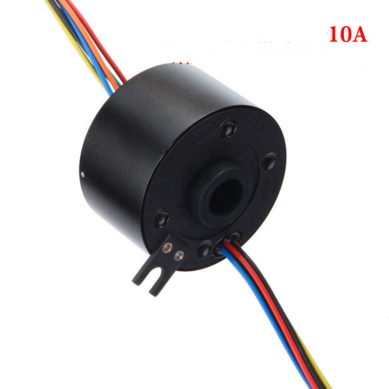 Diameter 56mm Inner Hole Diameter 12.7mm Hollow Shaft Conductive Sliprings 6 Channel Big Current 10A Collecting Slip Ring Metal