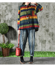 2018 Autumn New Loose Retro Colorful Striped Women Shirt With Pocket Casual Cotton Linen Literary Irregular Lady Vintage Blouse