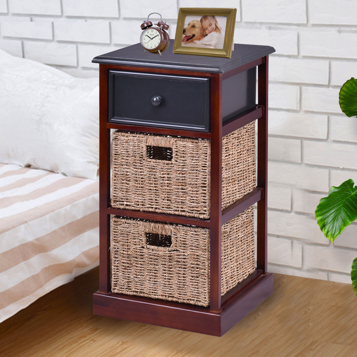Us 99 99 Giantex 3 Tiers Wood Nightstand With 1 Drawer 2 Baskets Modern Bedside End Table Organizer Brown Bedroom Furniture Hw56724 On Aliexpress