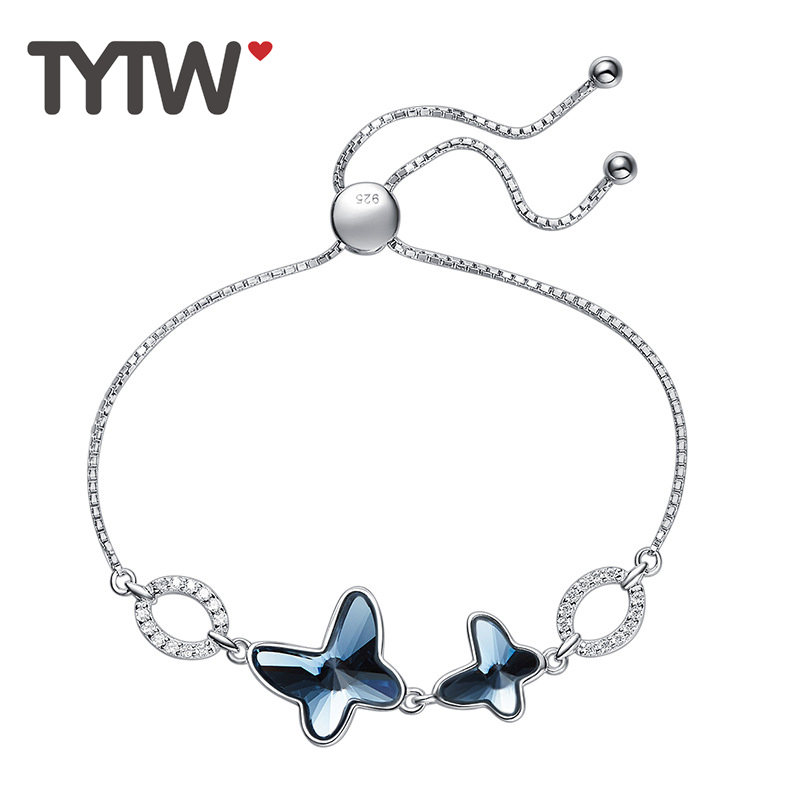 TYTW S925 cristales de plata esterlina de swarovski rodio grueso - Bisutería - foto 1