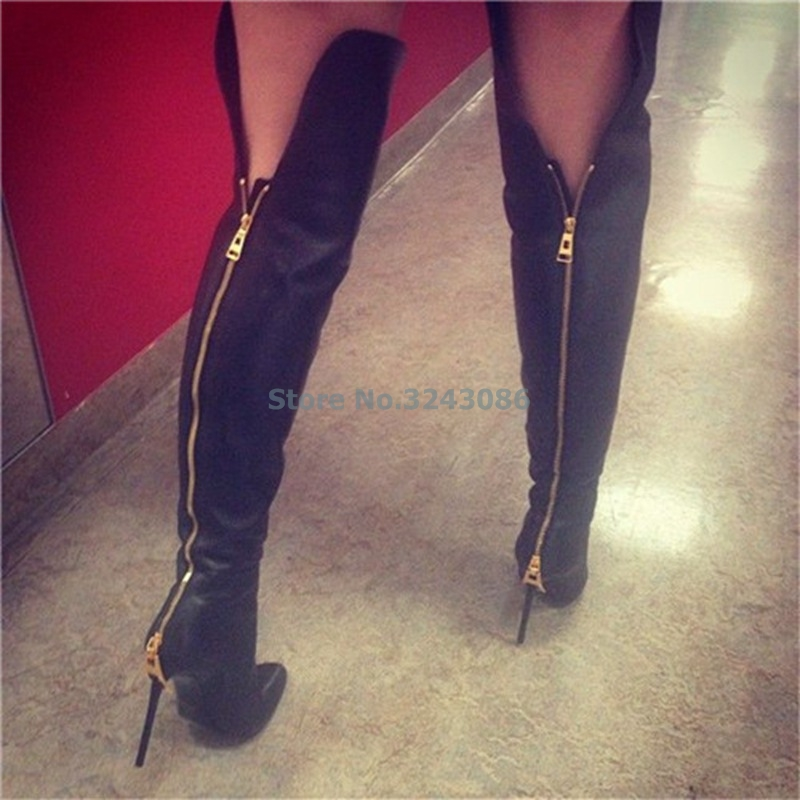 Black PU Pointed Toe Thin High Heel Long Boot Basic Faux Sheepskin Fit Knee High Boots Sexy Back Gold Zipper Motorcycle BootsBlack PU Pointed Toe Thin High Heel Long Boot Basic Faux Sheepskin Fit Knee High Boots Sexy Back Gold Zipper Motorcycle Boots