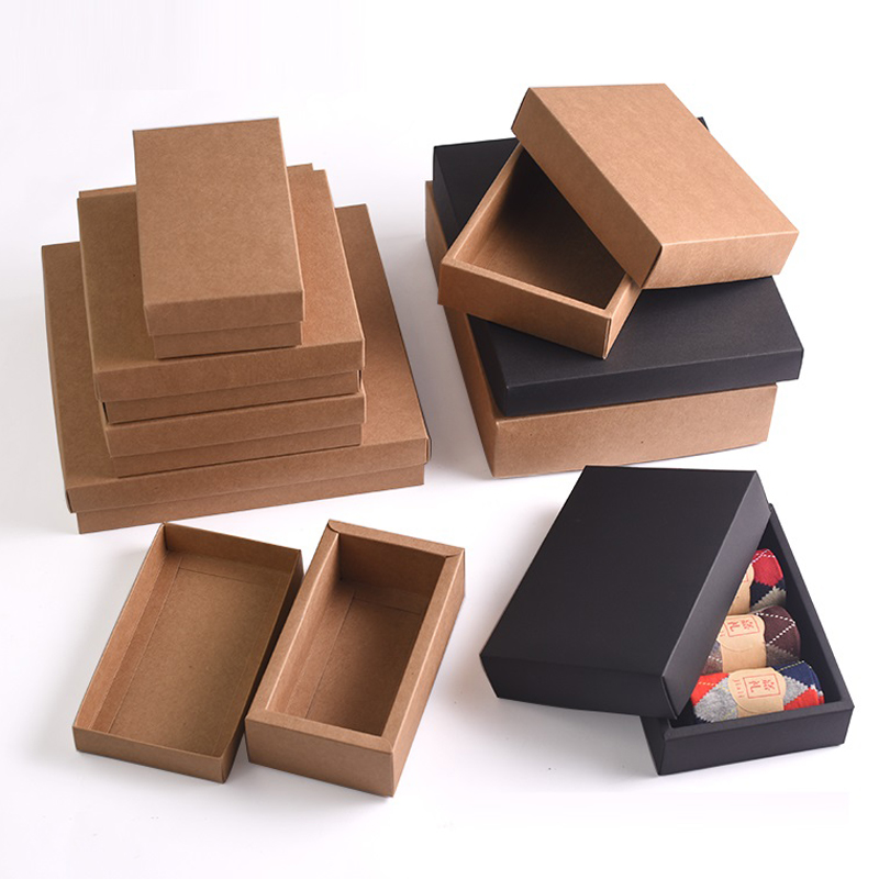 Us 20 44 13 Off 10pcs Retro Brown Kraft Paper Box Diy Craft Gift Boxes For Socks Towel Silk Scarves Accessory Gift Packaging In Gift Bags Wrapping