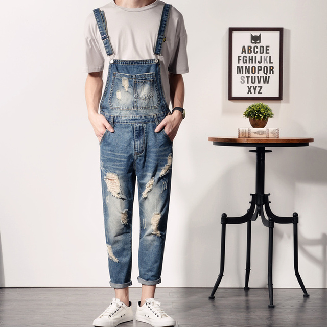 41cc2e6844d0 Fashion Vintage Men s Denim Jumpsuits Jeans New Man Ripped Distressed Jeans  Male Slim Fit Skinny Bib Overalls Jeans Pants