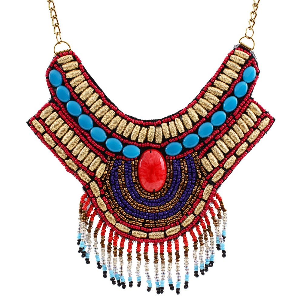 meidi Exaggerated Bohemian Necklace Ethnic Style Pendant Bead Tassel Necklace For Women Statement Necklace Jewelry Gifts