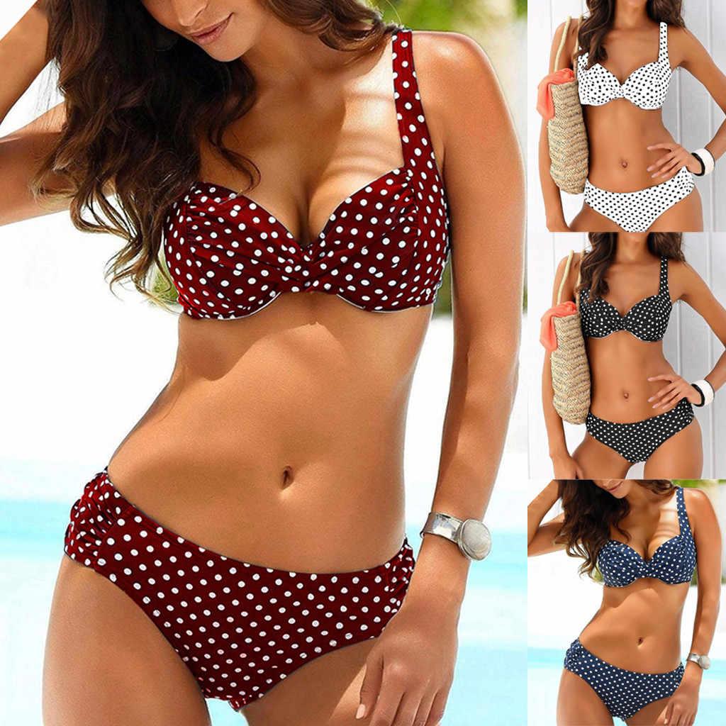 Sagace Baru Musim Panas Seksi Wanita Push-Up Bra Bikini Set Pinggang Tengah Renda Baju Renang Baju Renang Halter Swimwear Beachwear Panas dijual