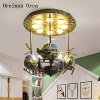 Cartoon creative fighter chandelier boys bedroom children's room lamp American personality camouflage aircraft LED ceiling lamp