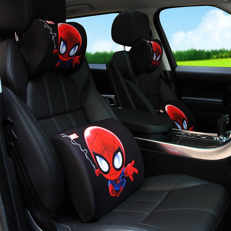 Universal Car Headrest Lumbar Pillow Memory Foam Set Neck Pillow Backrest