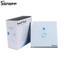 Sonoff сенсорный настенный Wi-Fi выключатель света США ЕС интеллектуальные стекла Панель умный дом Беспроводной удаленного коммутатора Управление через по телефону