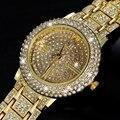 2016 New Arrival Luxury Women Watches Rhinestone Crystal Wristwatch Lady Dress Watch Gold Plated Women Diamond Watches Relogio