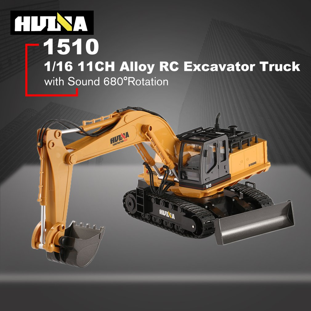HUINA TOYS RC Alloy Excavator RTR 1510 1:16 2.4GHz 11CH Mechanical Sound / 680-degree Rotation / Movable Stick Boom Bucket HOT!