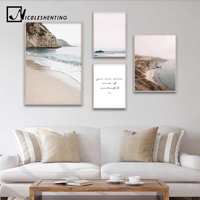 Coastal Beach Seascape Canvas Poster Nordic style Landscape Wall Art Print Painting Decorative Picture Scandinavian Home Decor