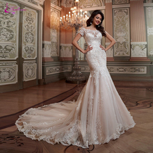 Waulizane Luxury V-Neckline Mermaid Wedding Dresses With Illusinn Beading Tiered Cap Sleeve Bridal Dress