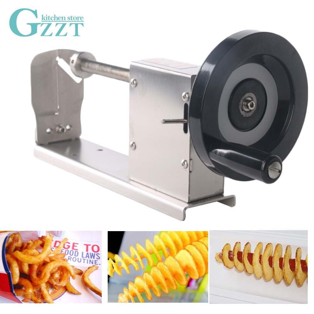Manual do Cortador De Batata Espiral torcida Batata Slicer Multifunction DIY Ferramenta de Cozinha de Lâmina de Aço Inoxidável Máquina de Corte de Vegetais