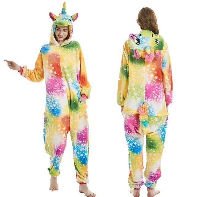 Kigurumi Unicorn Pajama Sets Cartoon Sleepwear Adult Unisex Women Pijama Onesie Hooded Winter Flannel Animal Stitch Panda Pyjama 1