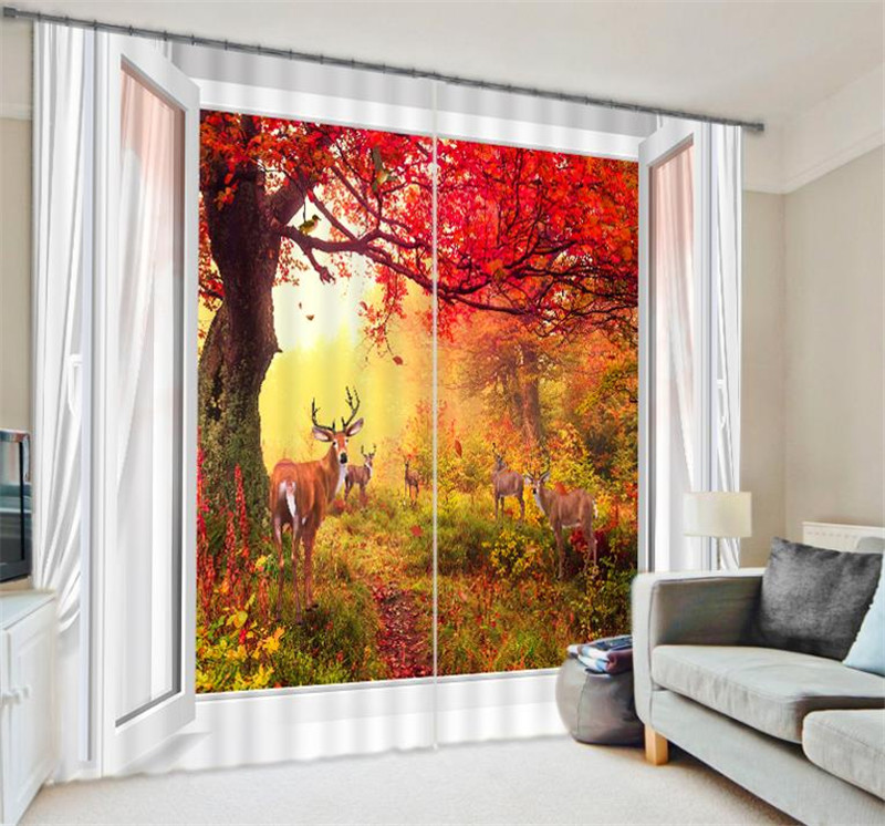 Red autumn leaf Curtains Luxury Blackout 3D Window Curtains  For Living Room Bedroom Customized size Drapes cortinas Rideaux  Red autumn leaf Curtains Luxury Blackout 3D Window Curtains  For Living Room Bedroom Customized size Drapes cortinas Rideaux