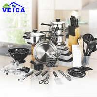 80 piezas Panelas De Ceramica llegada Fda alta moda Real utensilios De cocina ollas y sartenes Set iniciador De cocina Combo utensilio