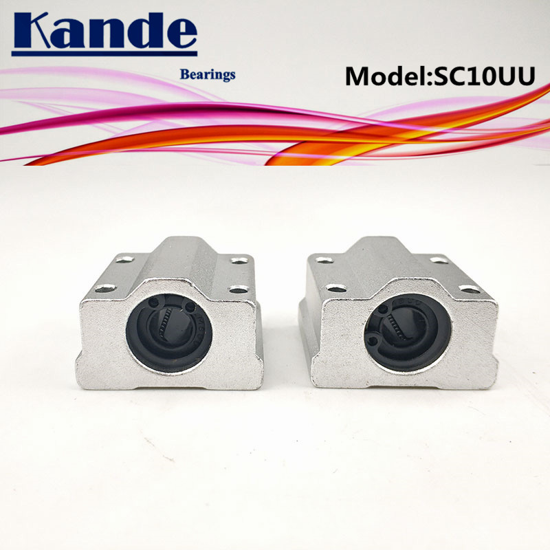 Kande Bearings  2pcs SC10UU SCS10 UU Linear Motion Ball Bearing Slide Block Bushing For 10mm SC10 SC