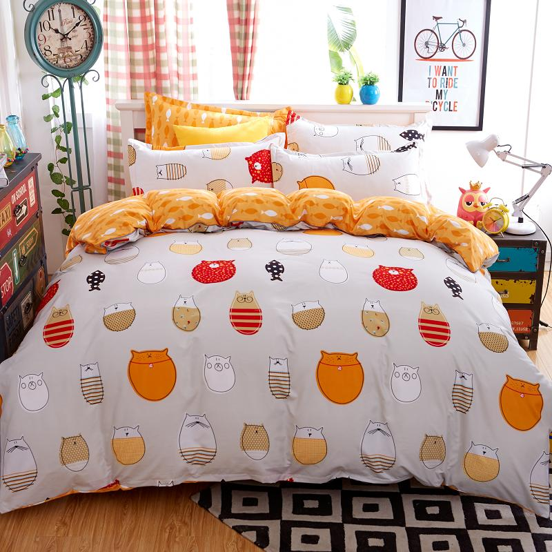 3pcs4pcs a cartoon owl bfish orange bedding sets bed line bed set duvet cover bed sheet pillowcase 5sizein bedding sets from home